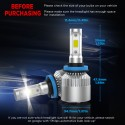 Crownova H11 LED Headlight Bulbs, S2 Series Flip Cob Chips, 3600lm Hi/Lo Beam, 6500k Cool Daylight (H11 H9 H8)