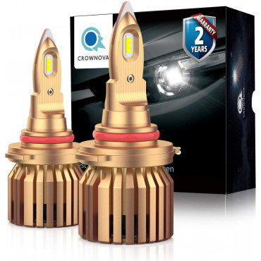 Crownova B2 9005 led headlight bulbs 8000 lumens 60W 6000K daylight white external driver with load resistor and anti-flicker CANbus decoder 2-pack